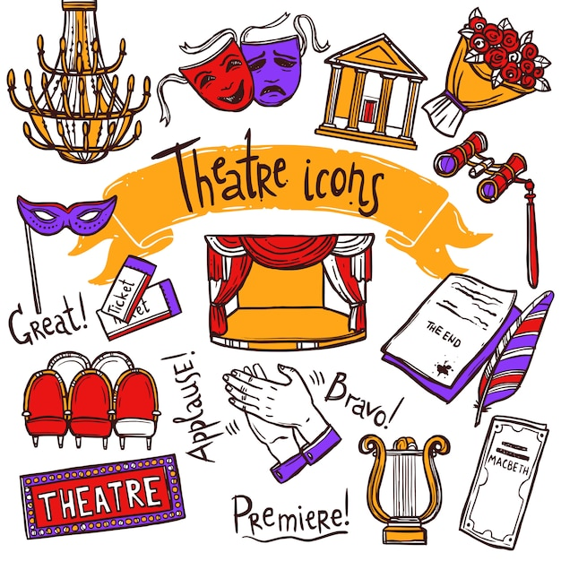 Theater icons set Free Vector