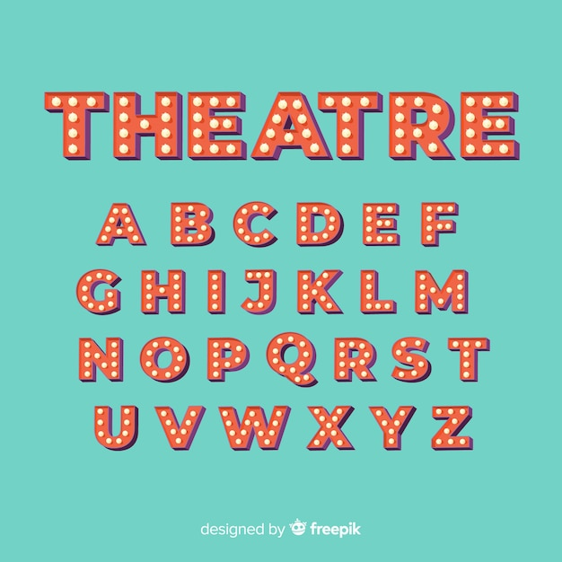 Theater light bulb alphabet Free Vector
