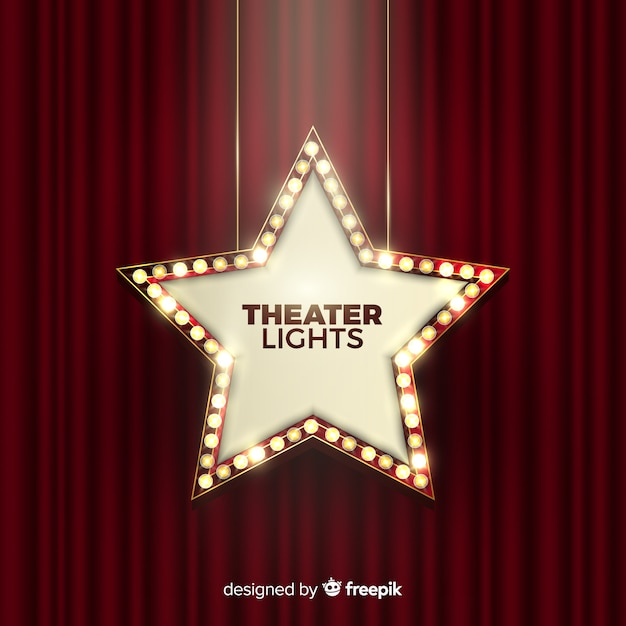 Theater lights sign Free Vector