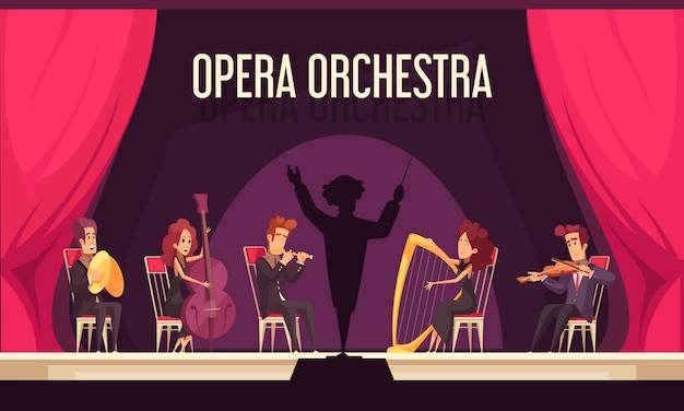 Theater opera orchestra onstage performance with violinist harpist fluitist musicians conductor red curtain flat composition Free Vector