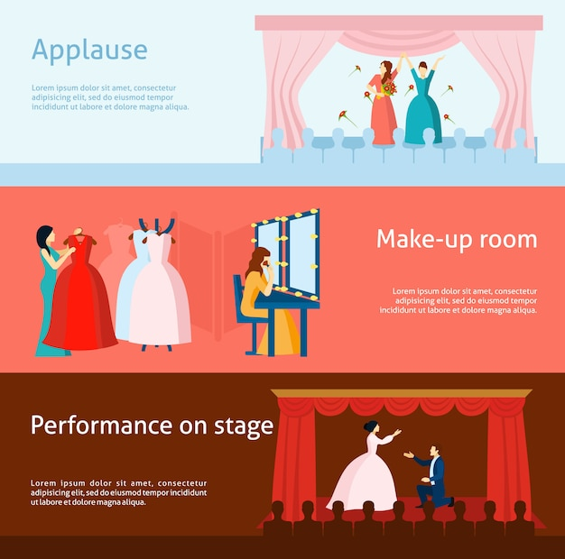 Theater performance flat banners set Free Vector