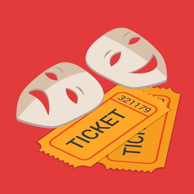 Isometrica piana di prenotazione del biglietto di partecipazione allo spettacolo di arte classica del palcoscenico del teatro Vettore gratuito