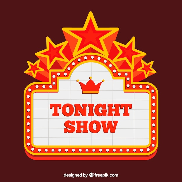Theater Sign With Decorative Stars Vector Free Download