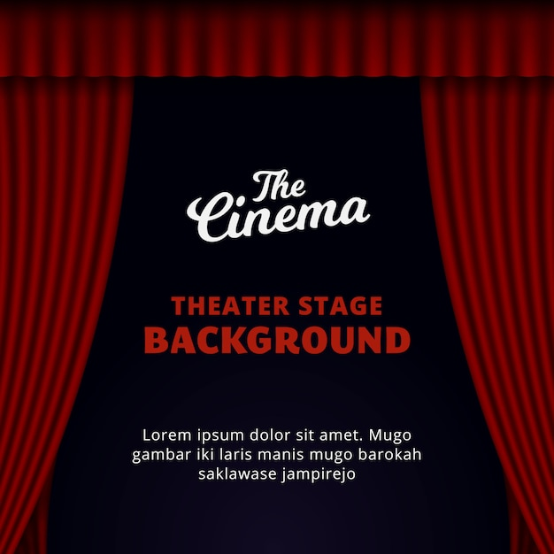 Theater stage background design. opened red curtain vector illustration. Premium Vector