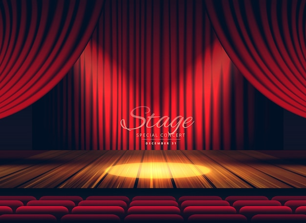 Theater stage background with red curtains Free Vector