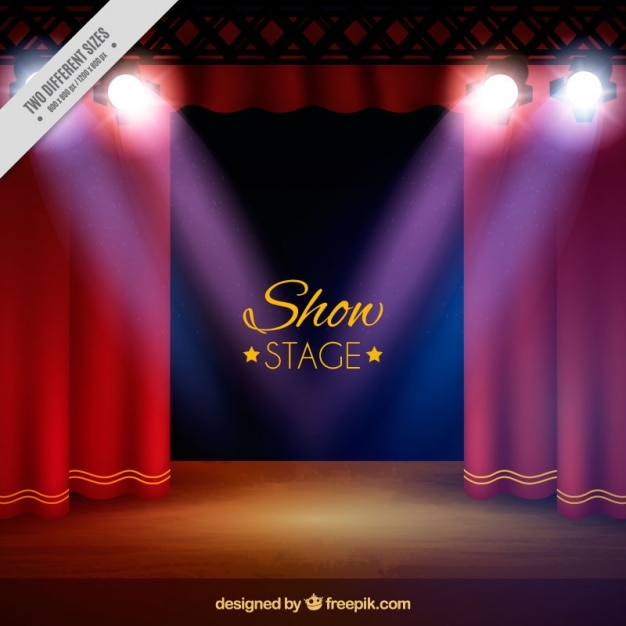 Theater Lights Background: Theater Stage Background With Spotlights In Realistic