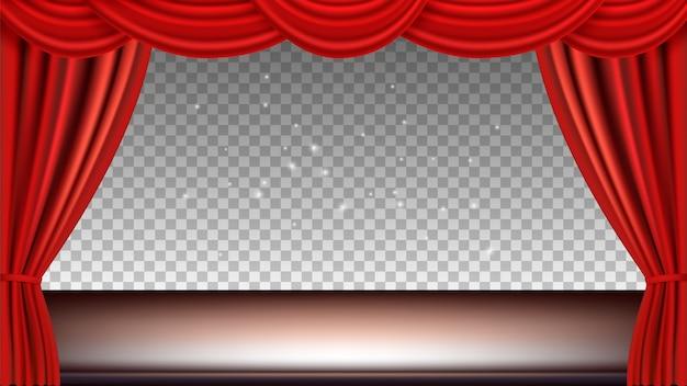 Театральная сцена. праздничный фон оперный свет кино аудитории с красными шелковыми шторами. реалистичные шторы и сцена, изолированные на прозрачном фоне. Premium векторы