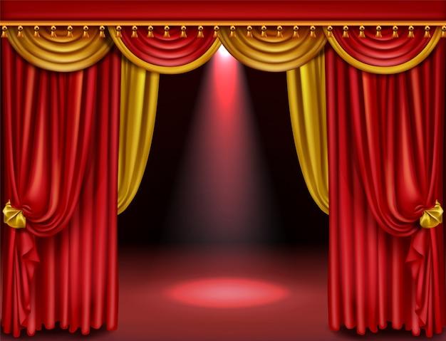 Театральная сцена с красными и золотыми шторами Бесплатные векторы