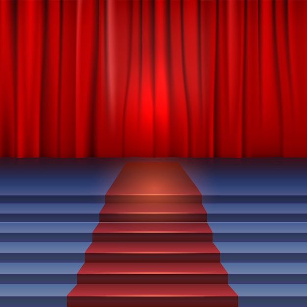 Theater stage with red curtain and carpet. Premium Vector
