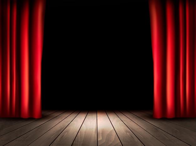 Сцена театра с деревянным полом и красными занавесками. Premium векторы