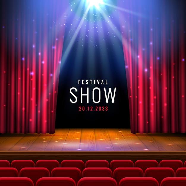 赤いカーテン、スポットライト、席のある劇場の木製ステージ。 Premiumベクター