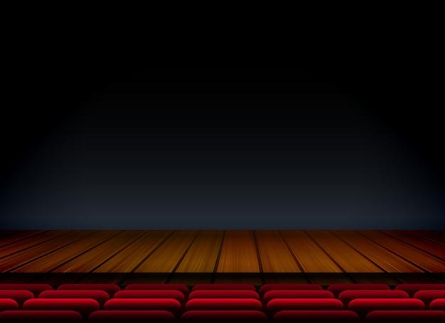 Teatro o palcoscenico per mostrare premier con sedile e pavimento in legno Vettore gratuito