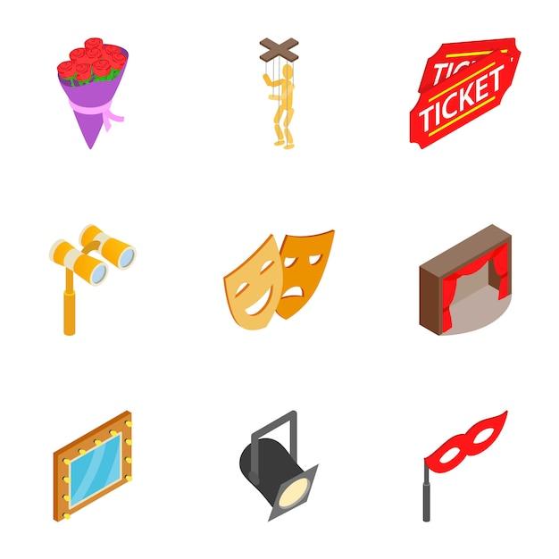 Theatre acting performance icons set Premium Vector