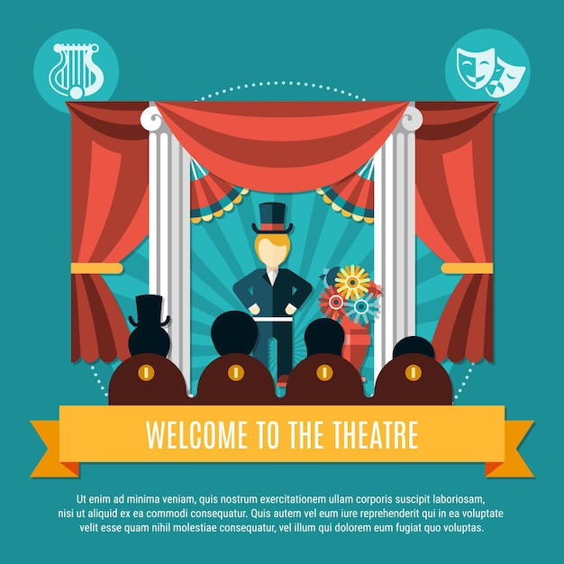 Theatre colored concept with welcome to the theater headline on yellow big ribbon vector illustration Free Vector