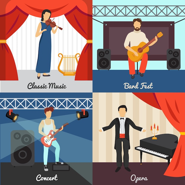 Theatre concept icons set with bard fest and opera symbols Free Vector
