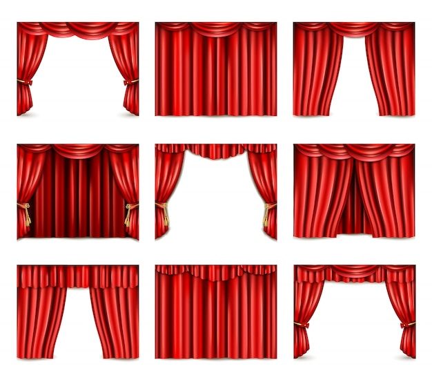 Theatre curtain icons set Free Vector