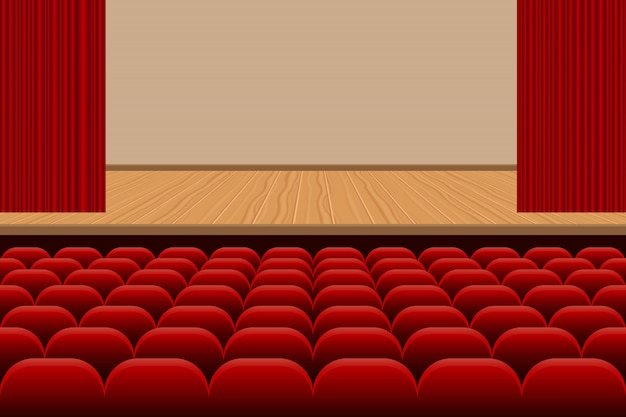 Театральный зал с рядами красных сидений и деревянной сценой иллюстрации Premium векторы