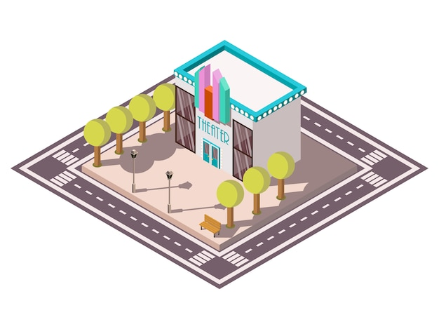 Theatre isometric illsutration Free Vector