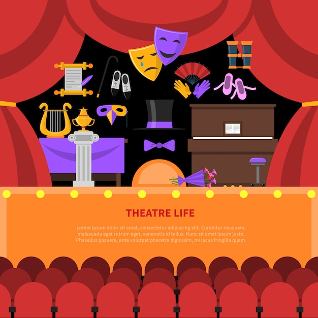 Sfondo di concetto di vita teatrale Vettore gratuito