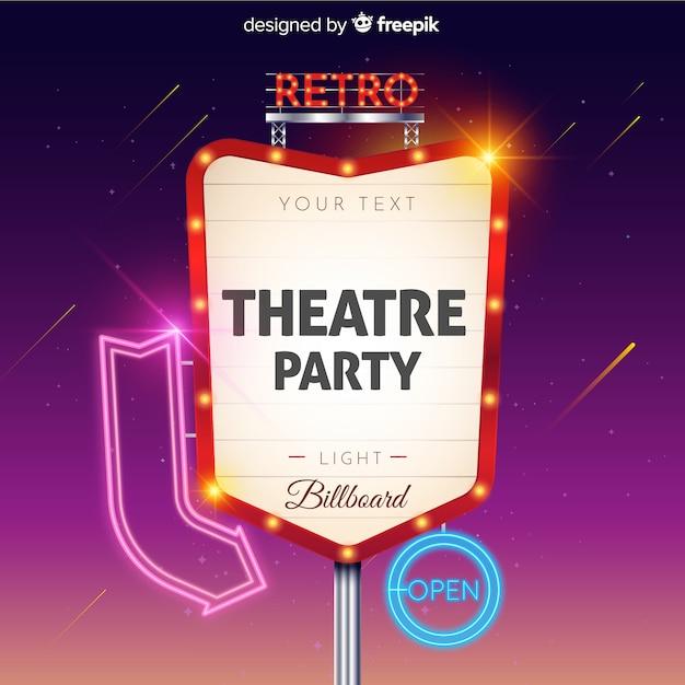 Theatre party retro light billboard Free Vector