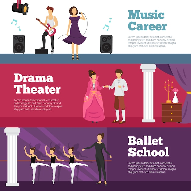 Theatre people banners set with ballet school and music career Free Vector