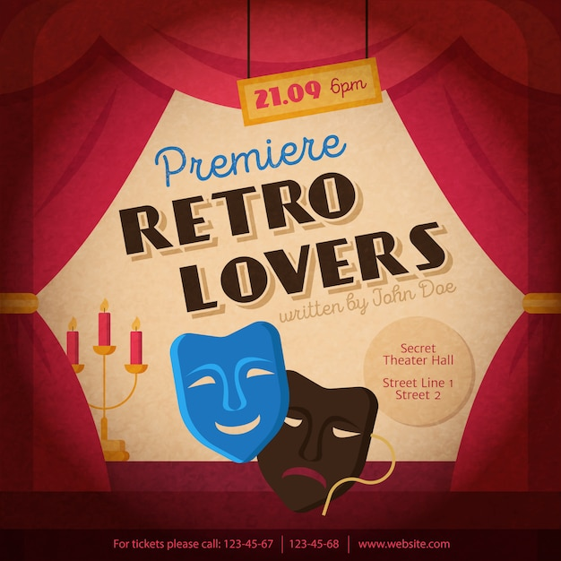 Theatre poster illustration Free Vector
