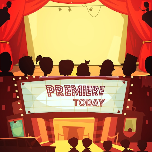 Theatre retro cartoon banner set Free Vector