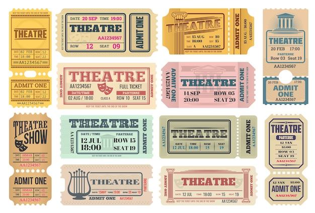 극장 쇼, 희극과 비극 가면, 리라 악기 및 고대 그리스 기둥으로 설정된 배우 공연 복고풍 티켓. 극장 입장권, 인정 프리미엄 벡터