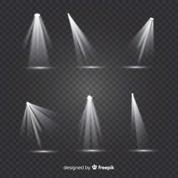 Theatre spotlight collection with transparent background Free Vector