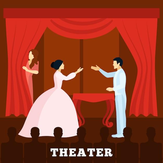 観客と一緒にシアターステージパフォーマンスポスター 無料ベクター