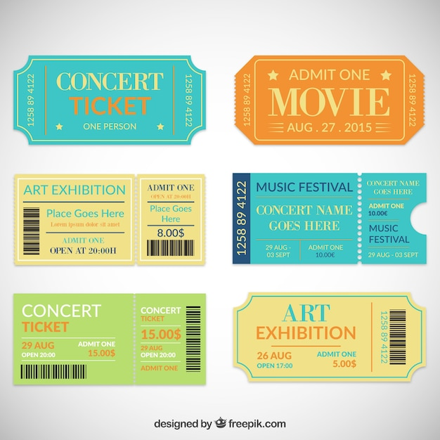 Theatre ticket collection Vector Free Download