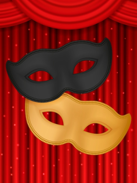 Theatrical mask on a red background. Premium Vector