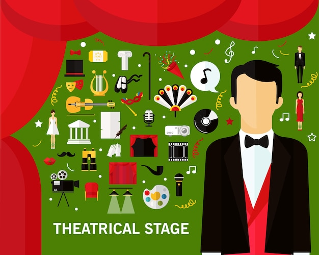 Theatrical stage concept background. flat icons. Premium Vector