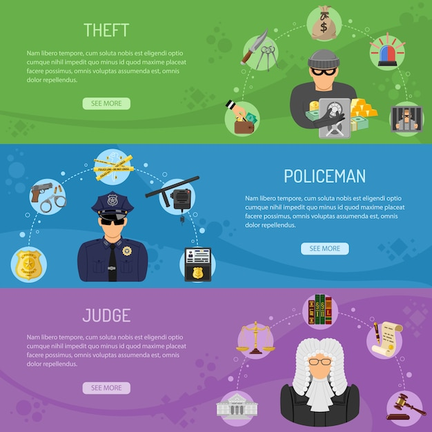 Theft crime and punishment horizontal banners Premium Vector