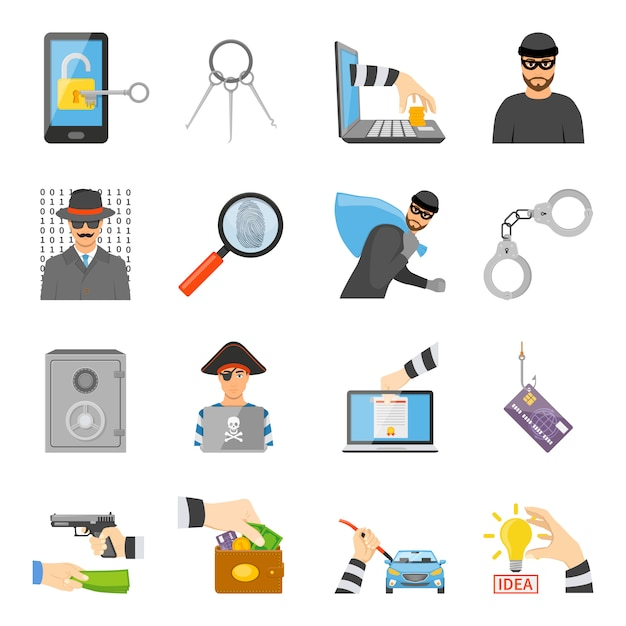 Theft icons set Free Vector