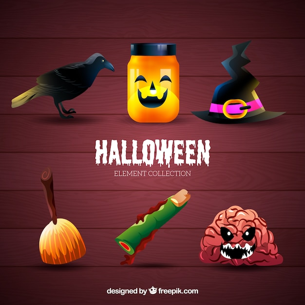 Thematic collection of typical halloween items