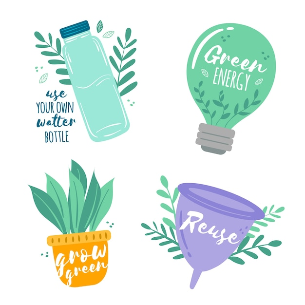 Thematic draw of ecology badge collection Free Vector
