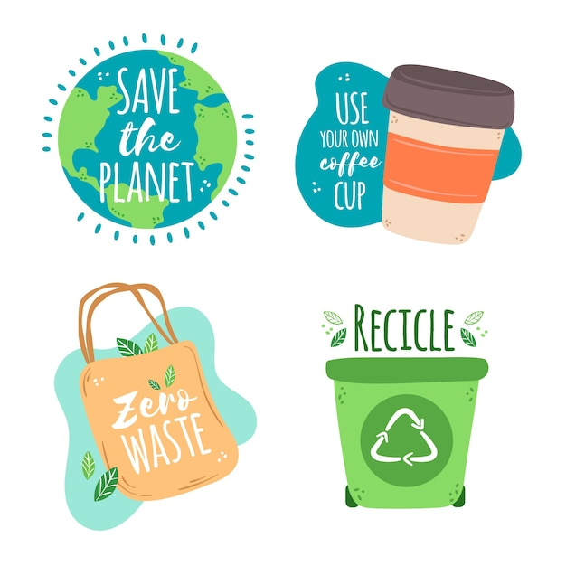 Thematic drawing of ecology badges Free Vector