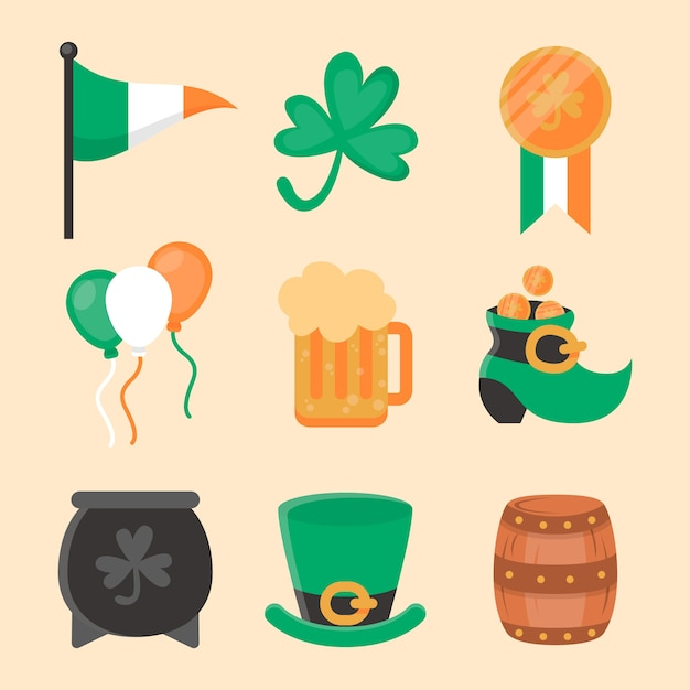 Thematic elements for st. patricks day Free Vector