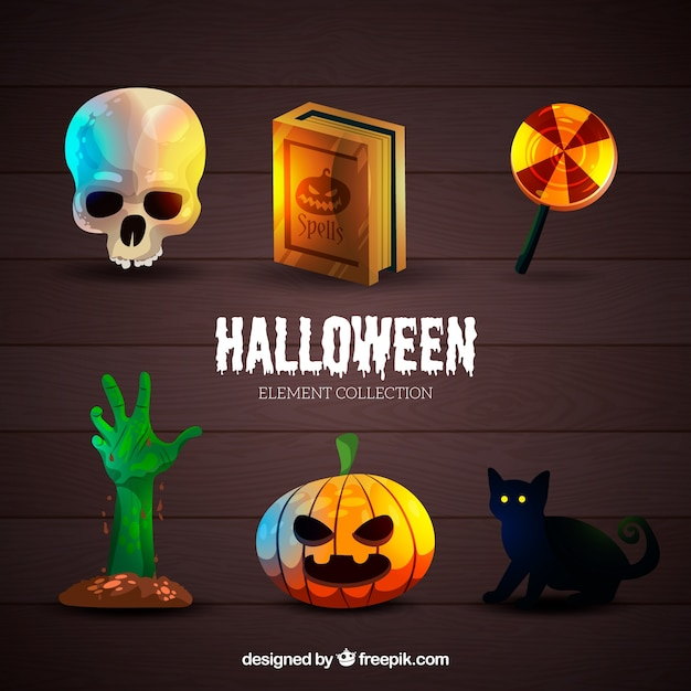 Thematic halloween collection of realistic attributes