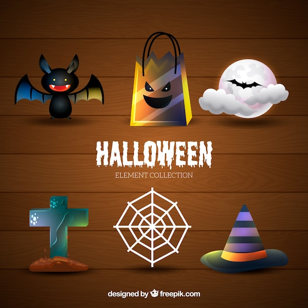Thematic set of halloween things Vector | Free Download