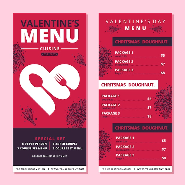 Thematic template for valentines day menu Free Vector