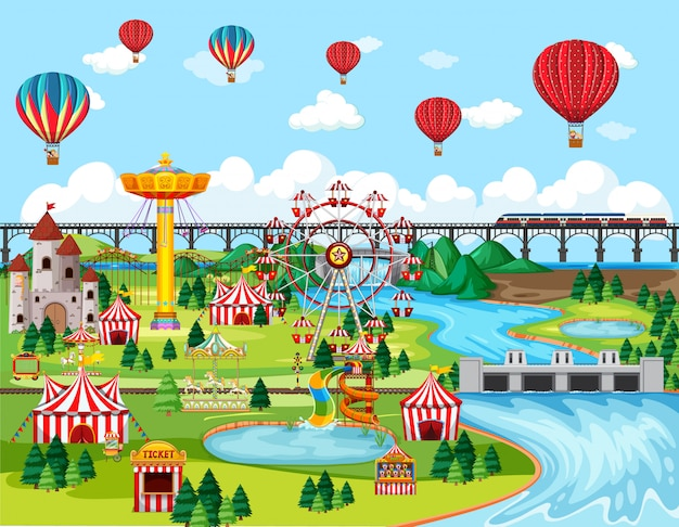 Theme amusement park festival with balloon landscape scene Free Vector
