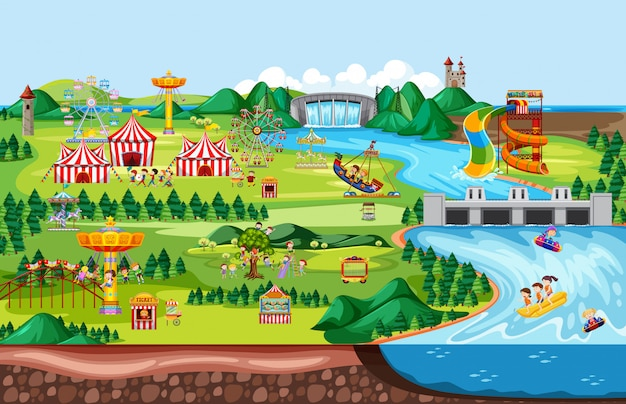Theme amusement park landscape scene and many rides with happy children Free Vector