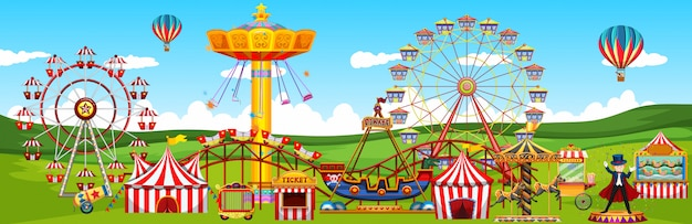 Theme amusement park landscape scene panorama view cartoon style Premium Vector