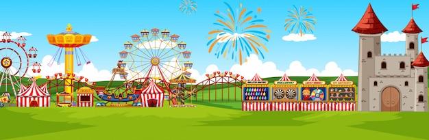 Тематический парк развлечений пейзаж сцена панорама мультяшном стиле Бесплатные векторы