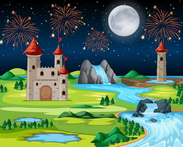 Theme night castle park with fire work and balloon landscape scene Free Vector