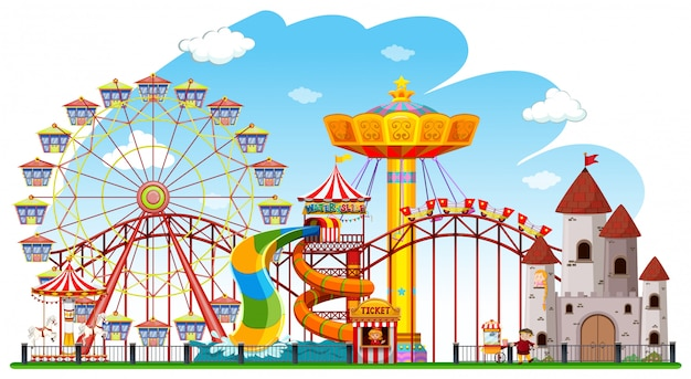 Theme park background scene Free Vector