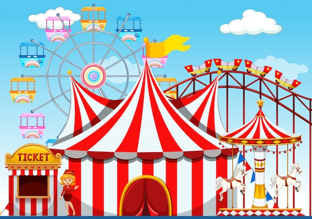 A theme park background Free Vector
