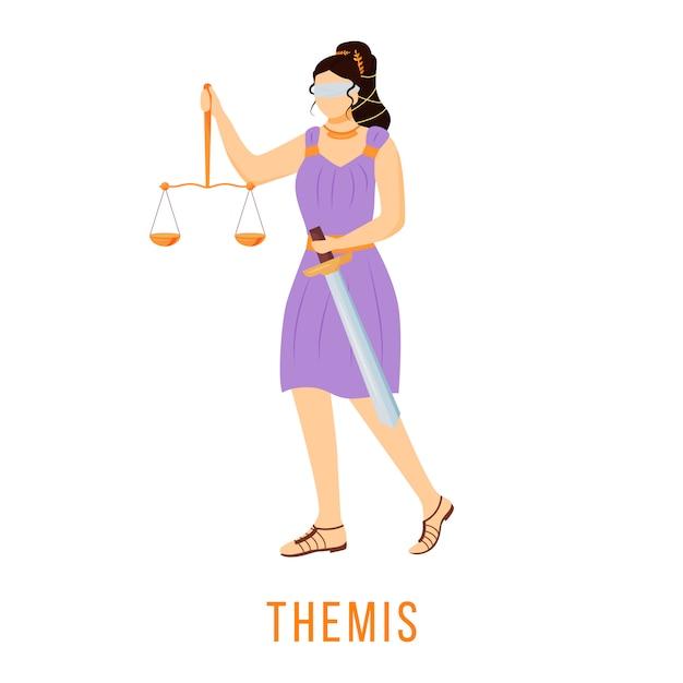 Фемида иллюстрации. титанность правопорядка. древнегреческое божество. божественная мифологическая фигура. мультипликационный персонаж на белом фоне Premium векторы